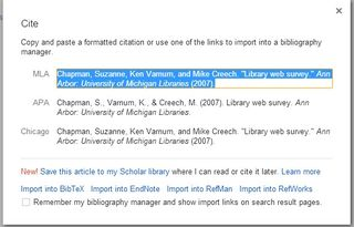 Export from Google Scholar