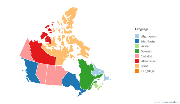A map of the most spoken languages in every Canadian ...